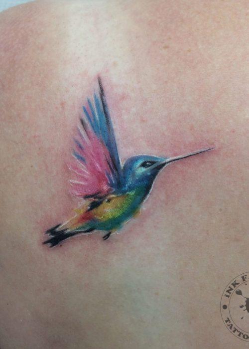фото тату Акварельный колибри
