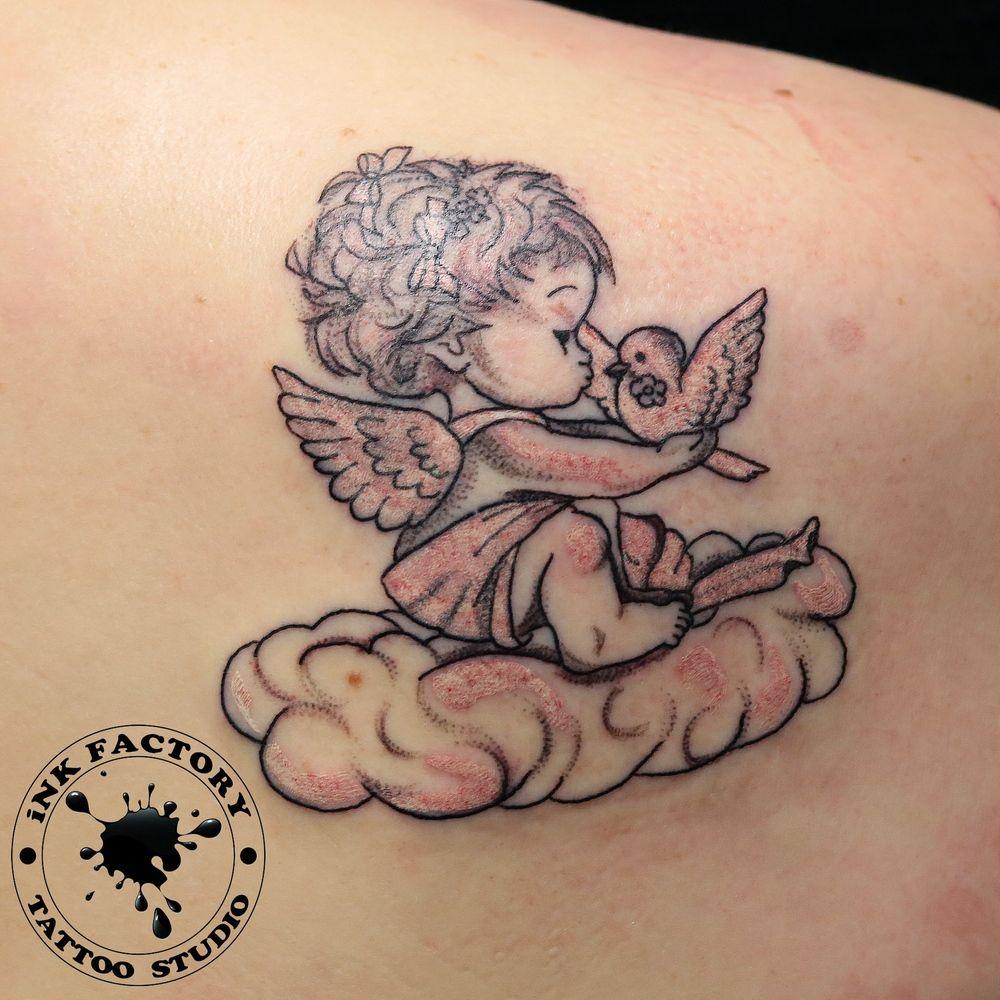 Ангел с птичкой - сделано в InkFactory