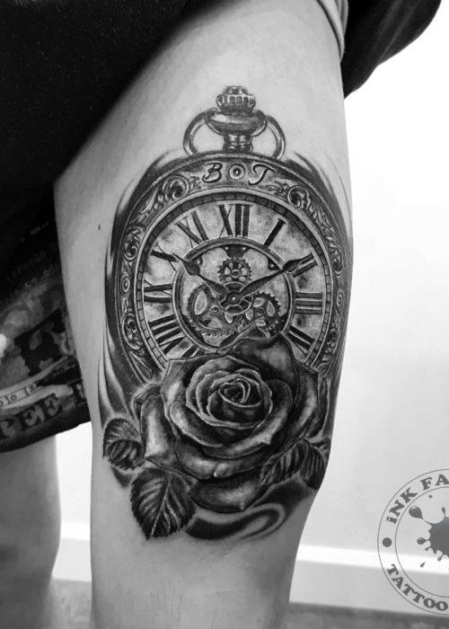 фото тату Часы с розой