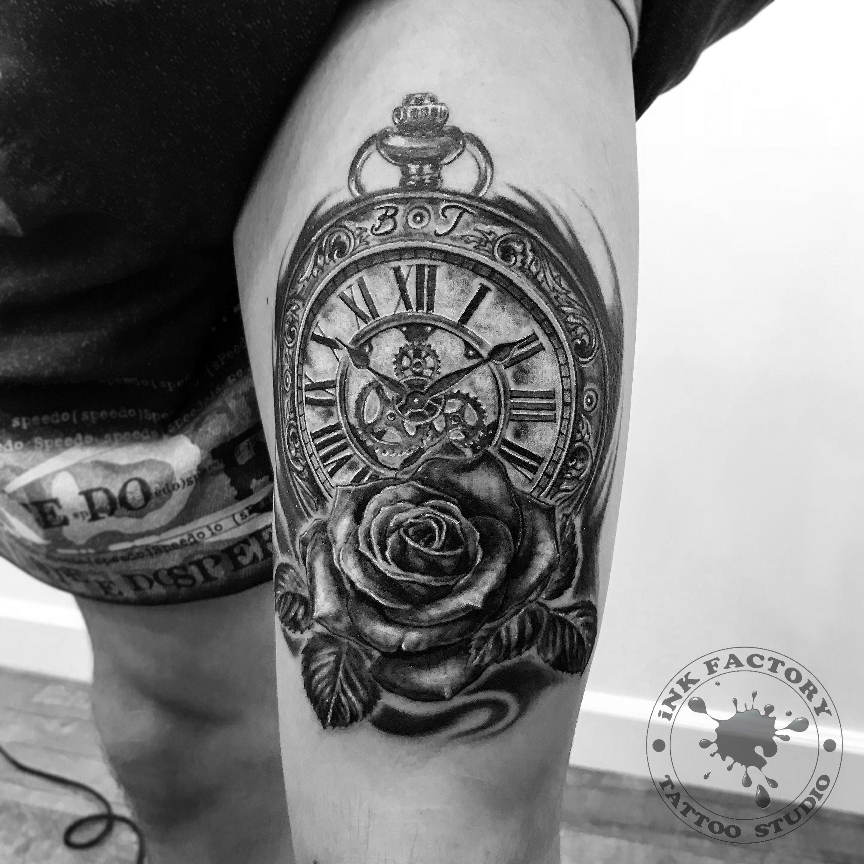 Часы с розой