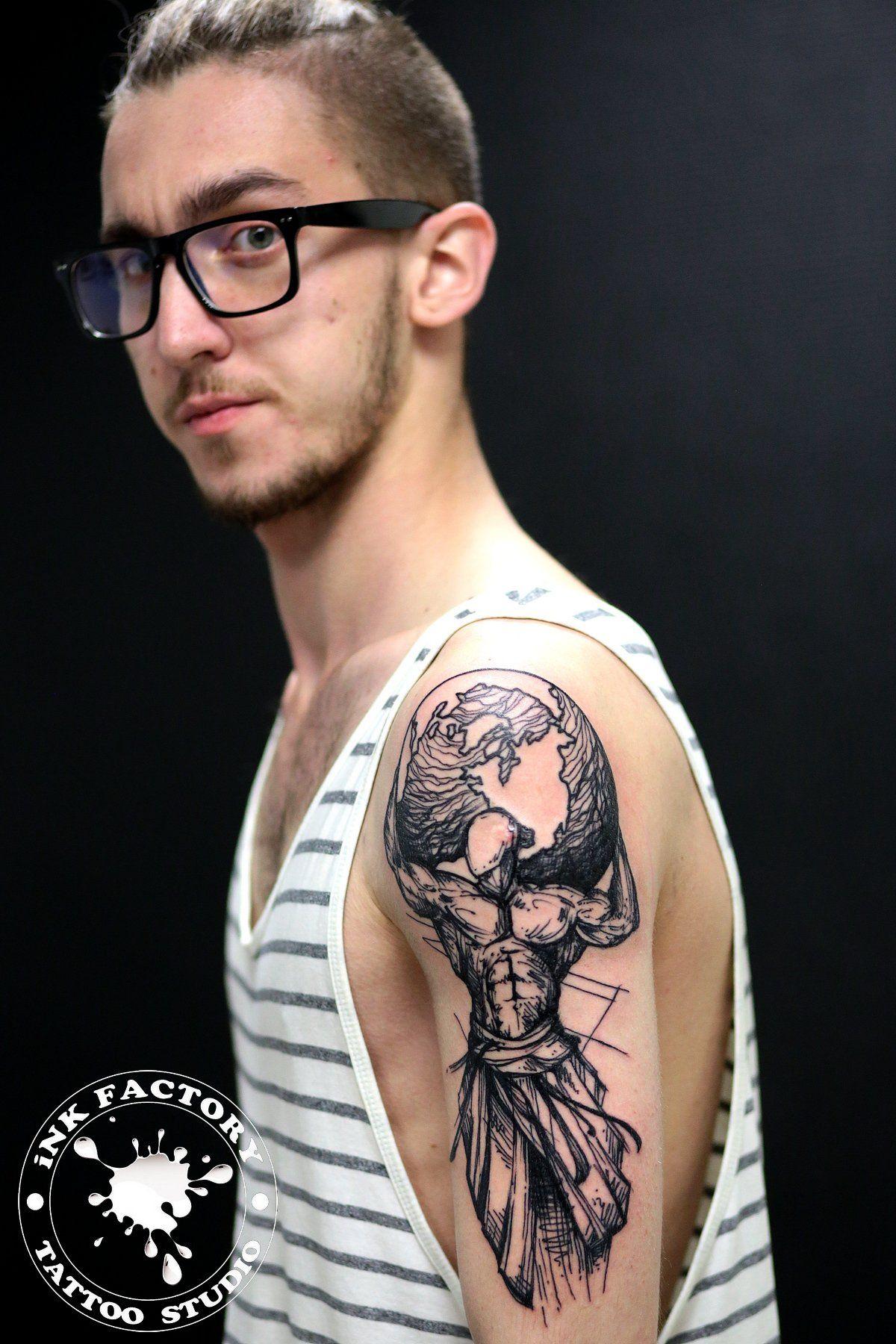 Человек держащий планету - сделано в InkFactory