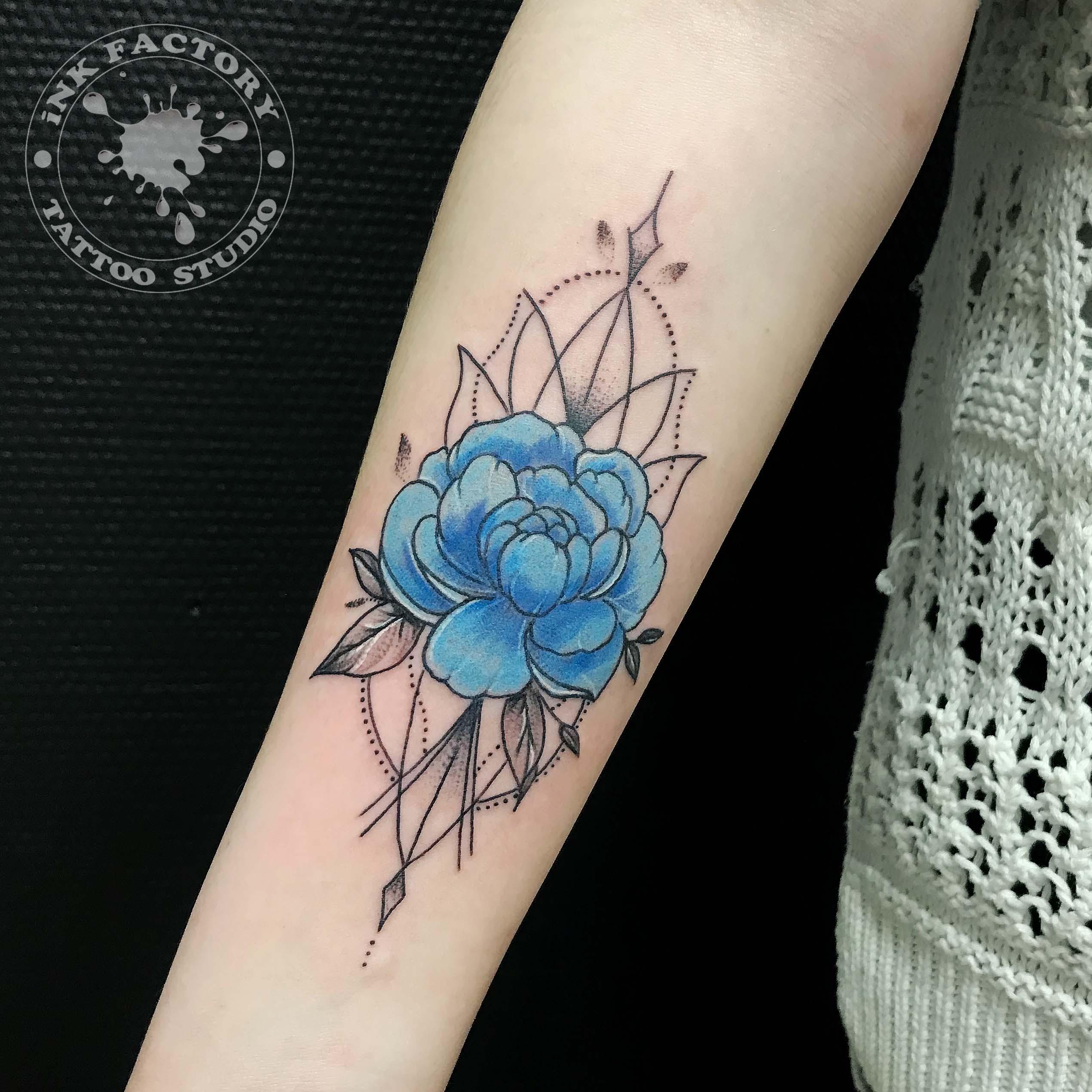 Голубой пион - сделано в InkFactory