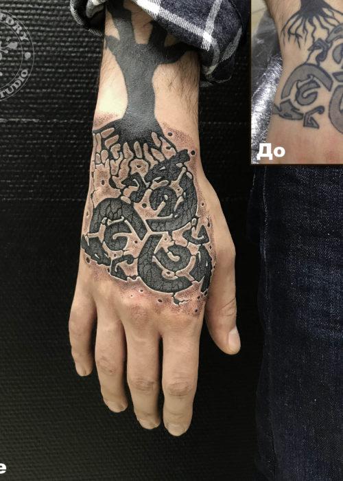 фото тату Исправления старой татуировки на кисти