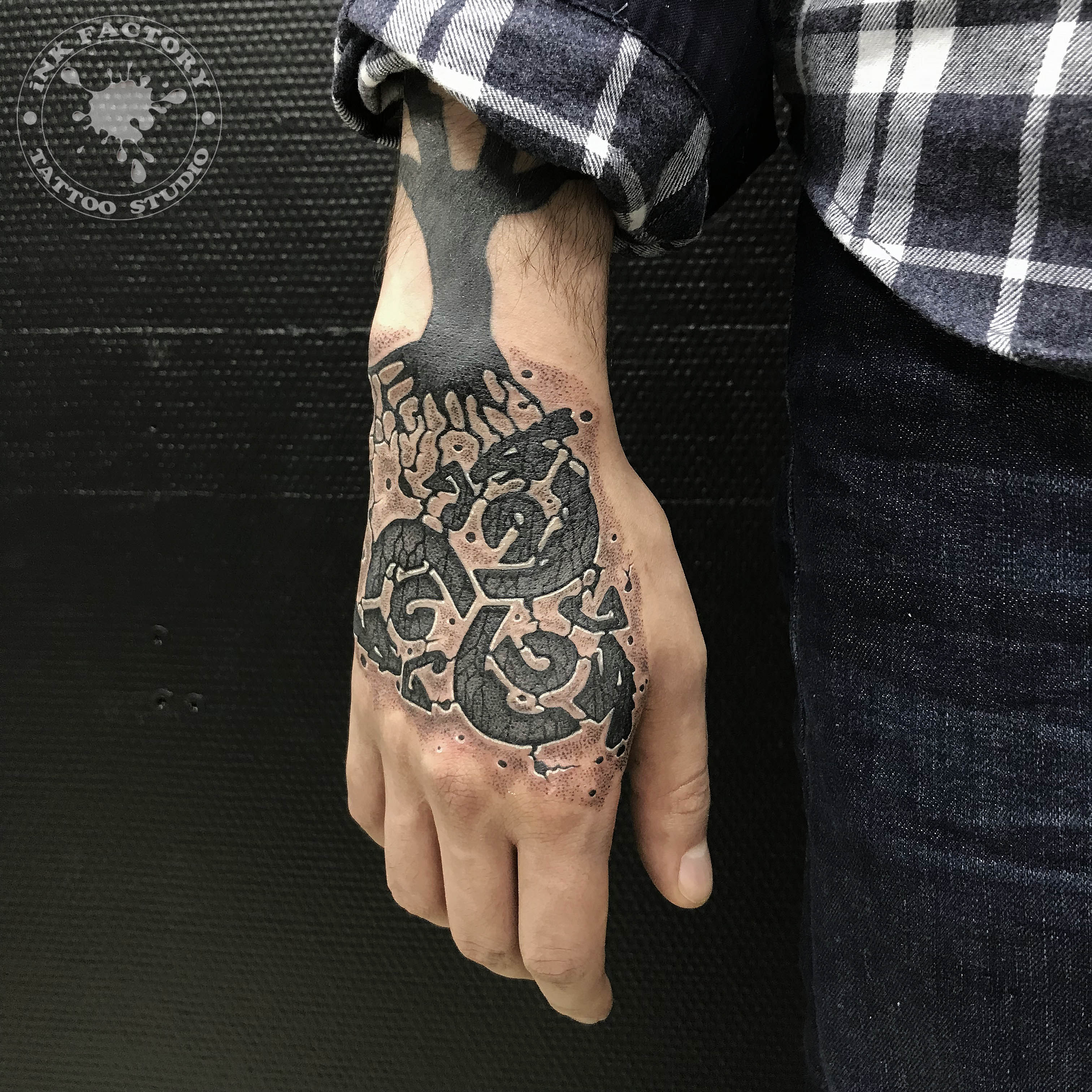 Исправления старой татуировки на кисти - сделано в InkFactory