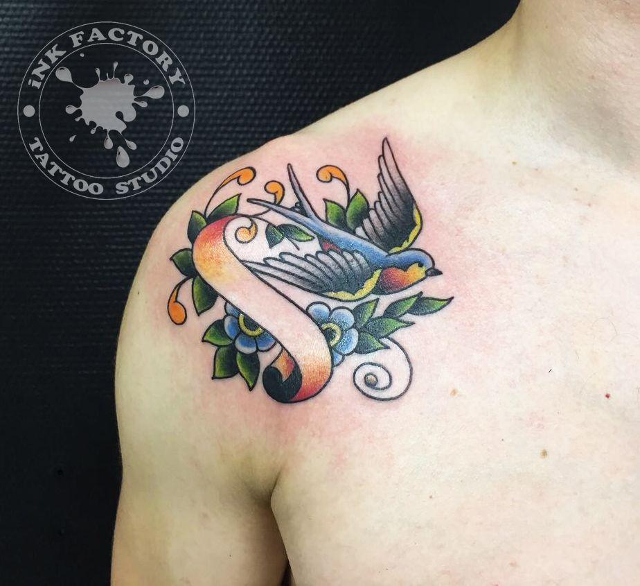 фото тату Татуировка птицы на ветке сакуры 375