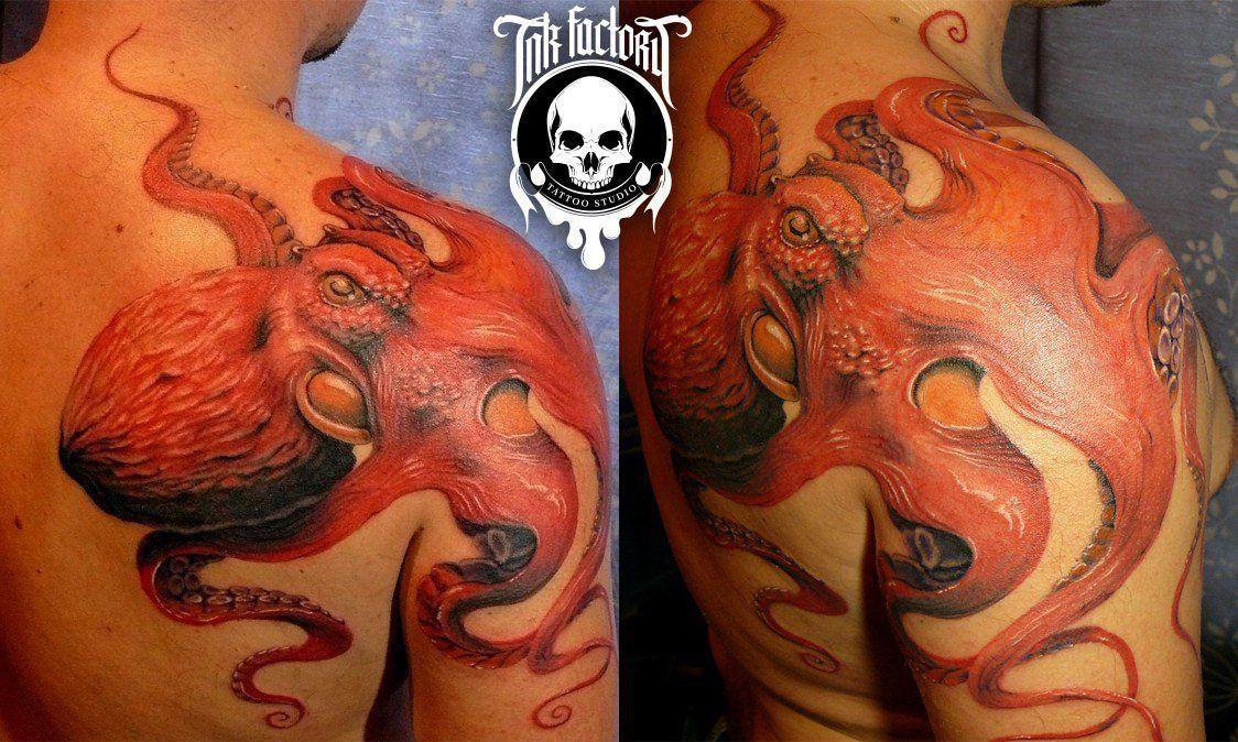 фото тату Реалистичная тату череп с розой 213