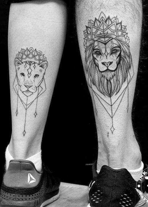 фото тату Парная татуировка львы