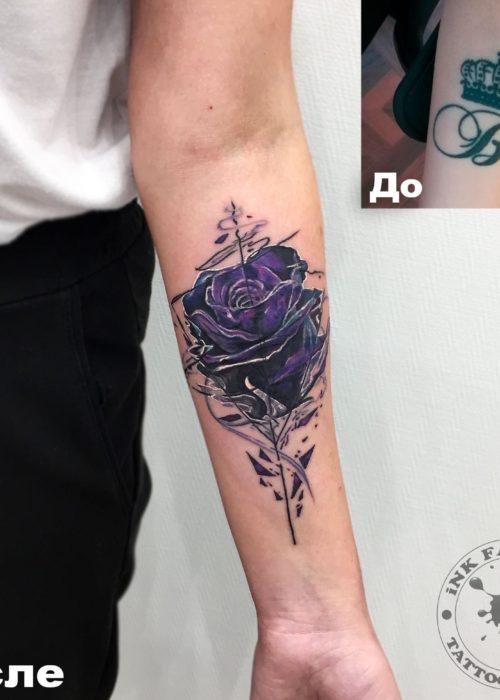фото тату Перекрытие короны розой