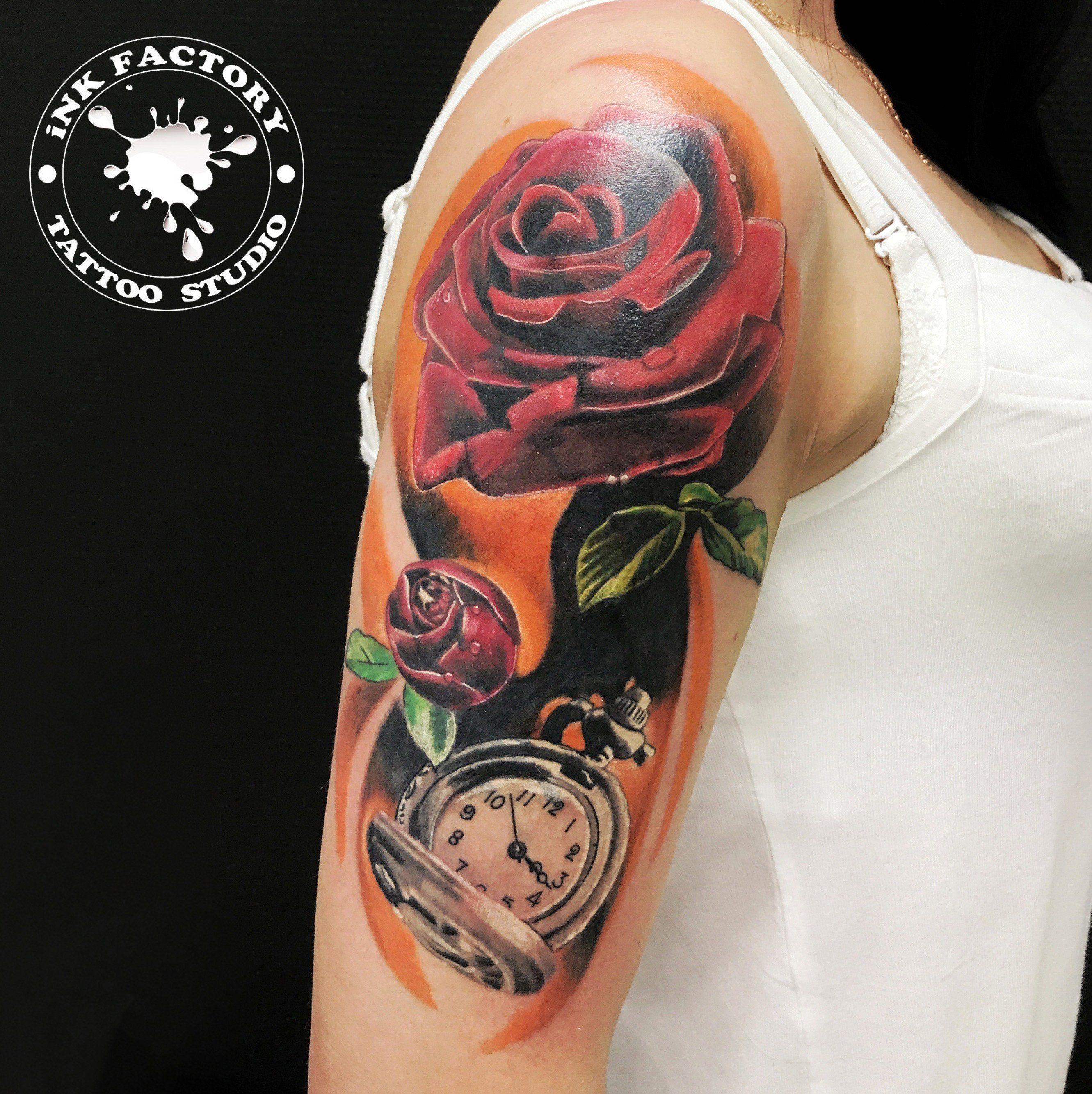 Роза с часами