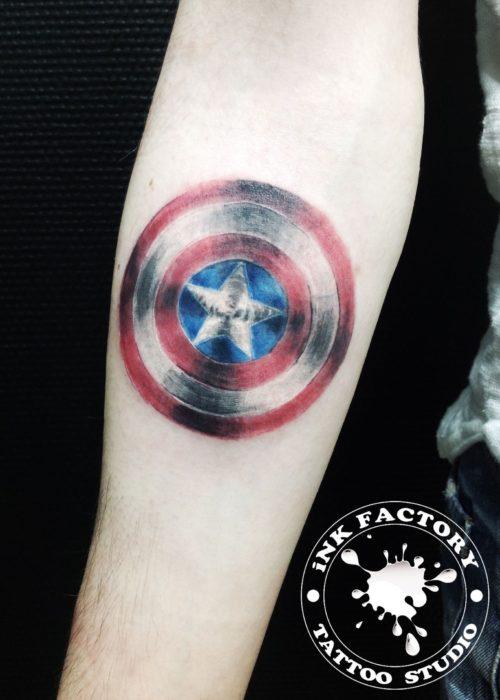 фото тату Щит капитана Америка