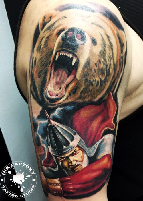 фото тату Воин с медведем